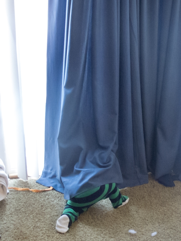 Playing in the curtain with the kitty is loads of fun.