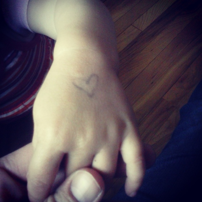 Because hearts on their hands remind me of things.